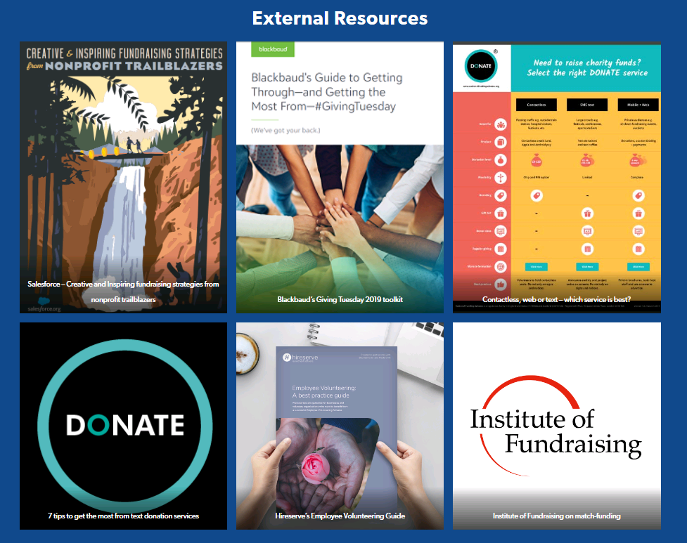 Photo of resources to help with Giving Tuesday