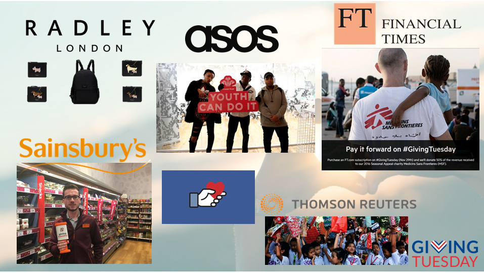 Giving Tuesday partners ASOS, FT, Sainsbury, Facebook and Thomson Reuters
